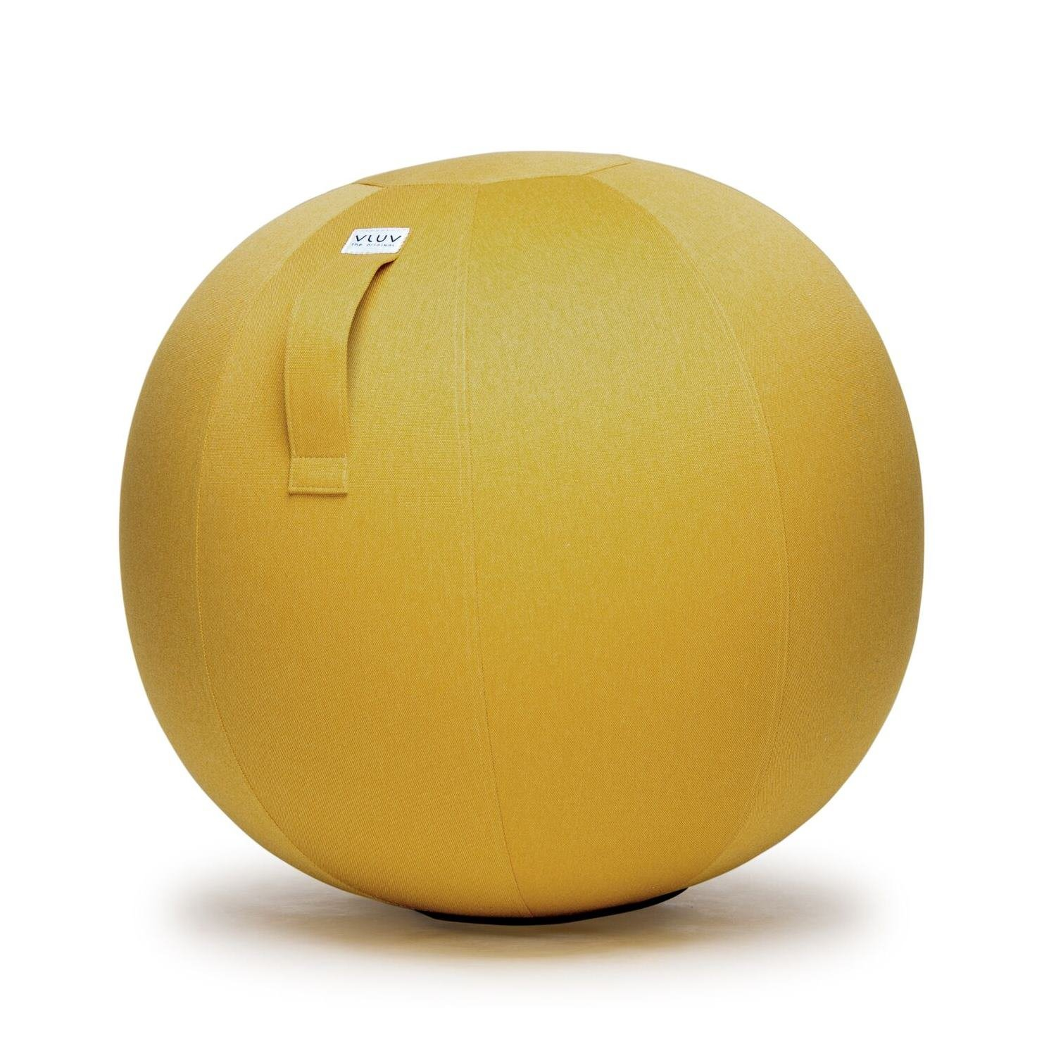 VLUV LEIV 29.5'' Premium Quality Self-Standing Sitting Ball with Handle - Home or Office Chair and Exercise Ball for Yoga, Stretching, or Gym Stone Colored Canvas Fabric (Mustard Colored, 29.5'')
