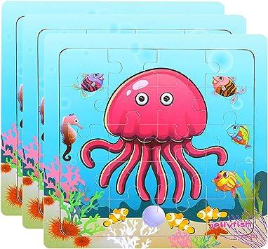 TOYANDONA Rompecabezas de Animales de Madera Juego de Mesa Rompecabezas de Medusas Juguete Montessori Juguetes Educativos para Niños Pequeños Niños Niños 3 Juegos: Amazon.es: Juguetes y juegos