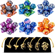 Polyhedral Dice Set(42 Pieces) with 6 Gold Pattern Drawstring Pouches, 6 Complete Double-Colors Dice Sets of D4 D6 D8 D10 D%