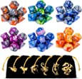 Polyhedral Dice Set(42 Pieces) with 6 Gold Pattern Drawstring Pouches, 6 Complete Double-Colors Dice Sets of D4 D6 D8 D10 D% D12 D20 Compatible with Dungeons and Dragons DND RPG MTG Table Games