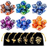 Polyhedral Dice Set(42 Pieces) with 6 Gold Pattern Drawstring Pouches, 6 Complete Double-Colors Dice Sets of D4 D6 D8…