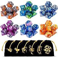 CiaraQ Juego de Dados poliédricos con Bolsas Negras con cordón, 6 Juegos completos de Dados de Dos Colores de D4 D6 D8…