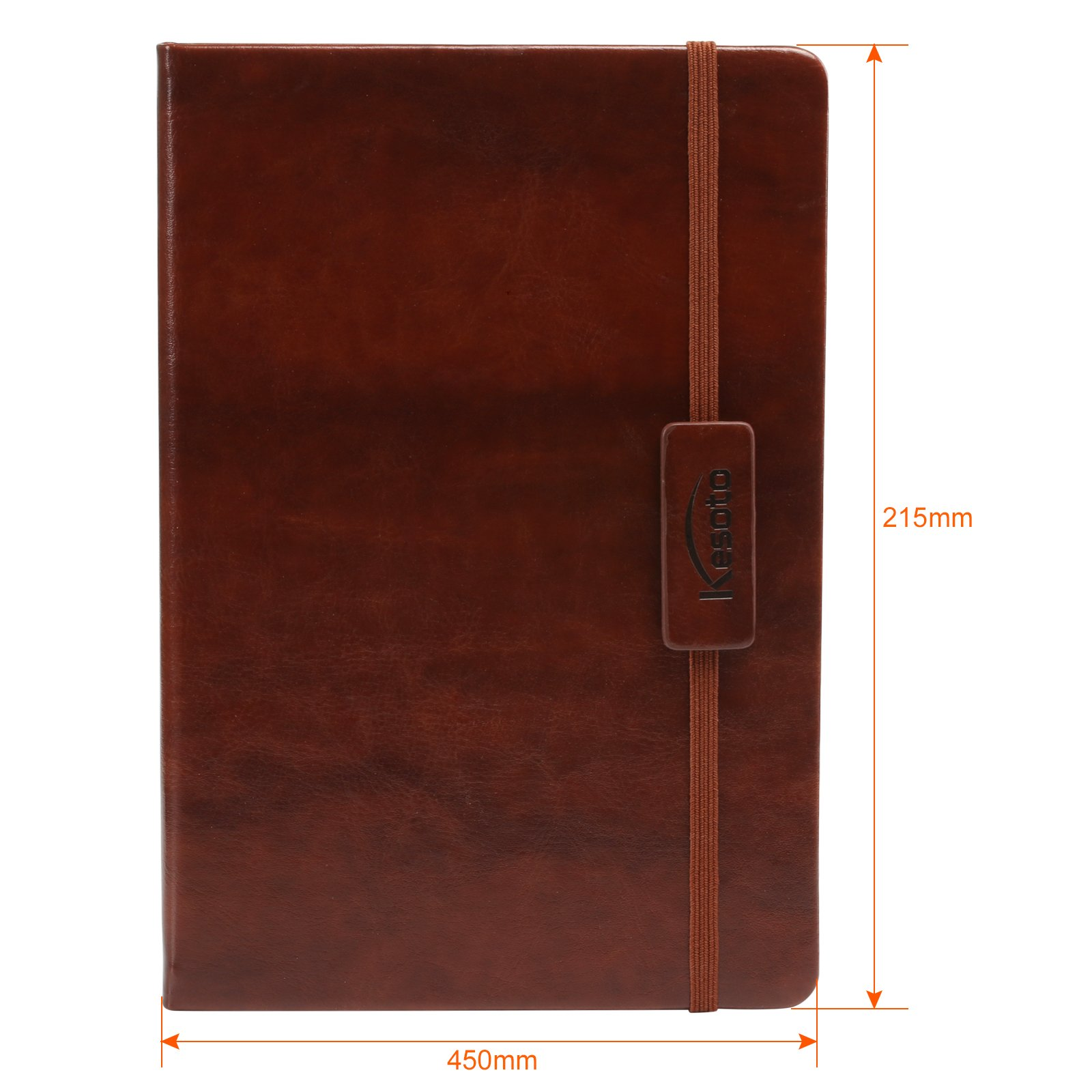 Kesoto A5 Classic Ruled Leather Hardcover Writing Notebook Journal Diary with Elastic Closure and Expandable Paper Pocket (200 Pages) by Kesoto (Image #2)