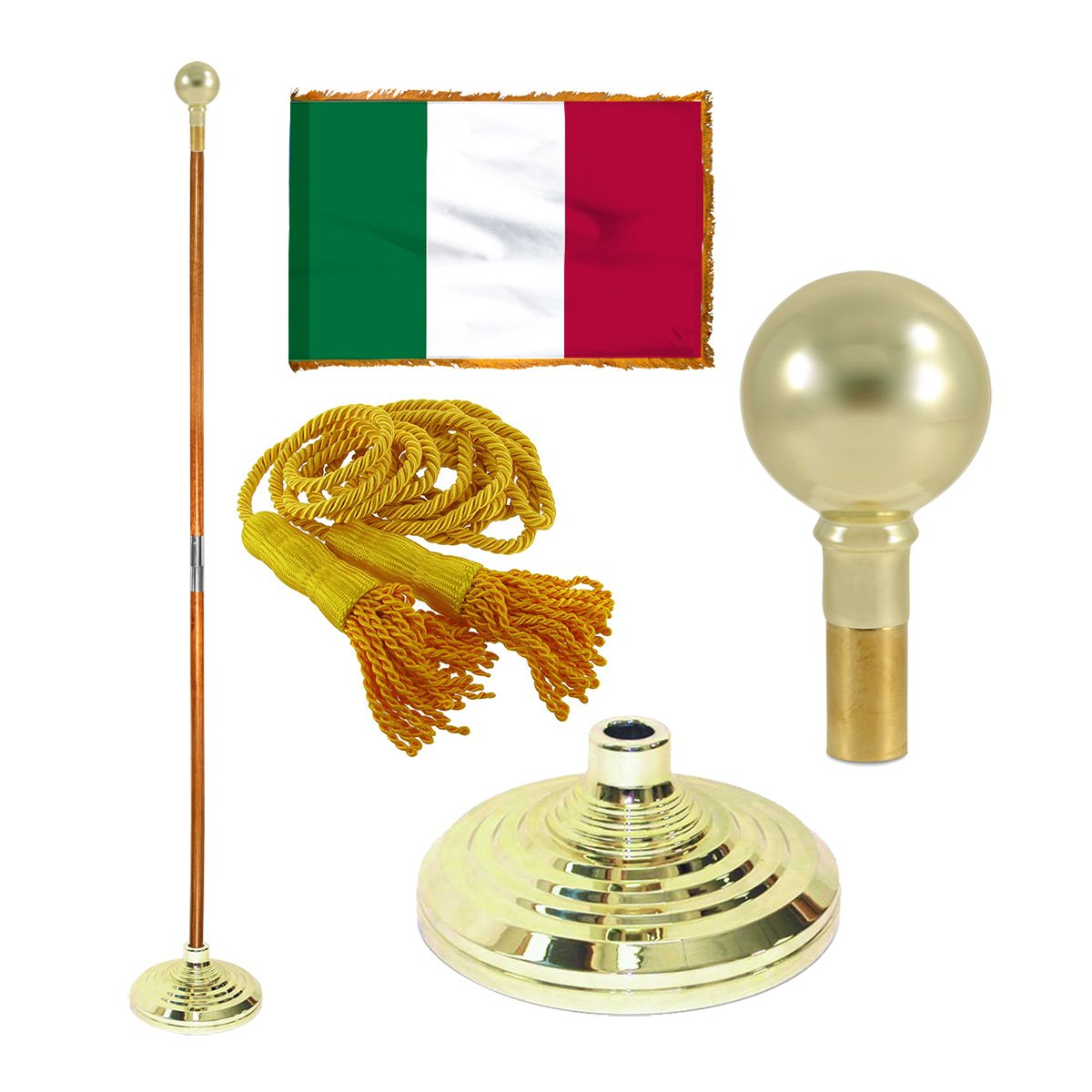 Italy 3ft x 5ft Flag, Flagpole, Base, and Tassel (7 Ft Oak Pole, Parade Ball)