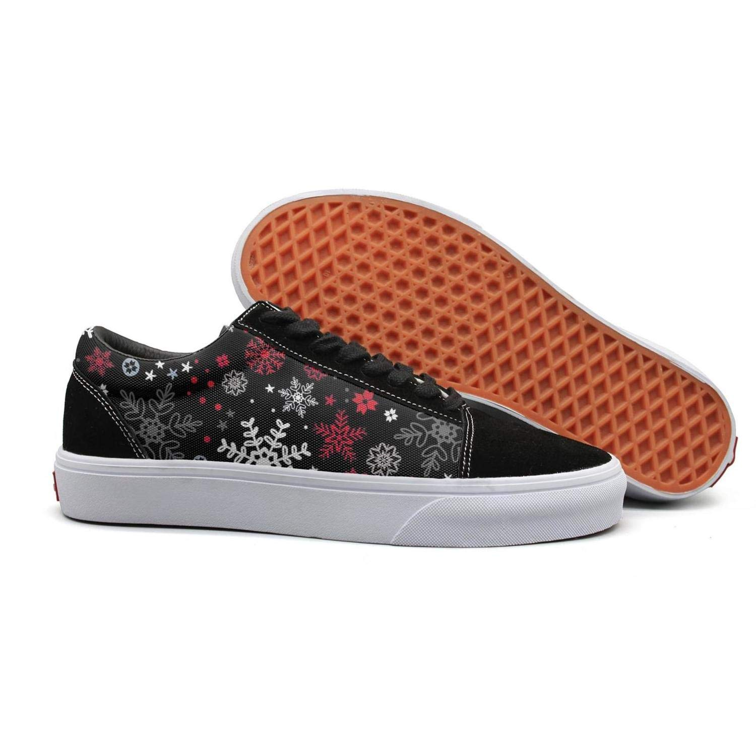 Pheomg Womens Ladies Christmas Black Snowflakes Low Top Casual Slip-on Canvas Shoes Classic Casual Shoes Sneakers