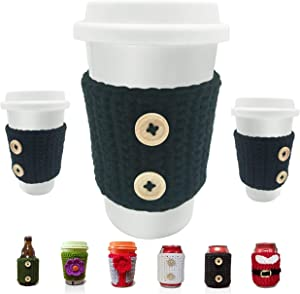 Reusable Cozy Sleeve (100% Handmade Knitting) for Cup Can Bottle Glass (Various Size Beer Bottle Coke Can Mug Tea Glass Coffee Cup) Creative Gift and Home Decoration to Beverage Lover and Family (B)
