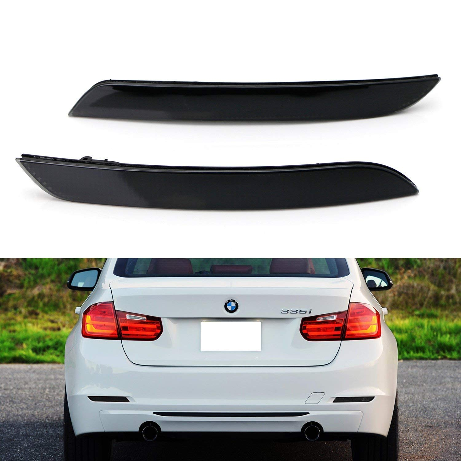iJDMTOY Smoked Lens Rear Bumper Reflector Lenses For BMW F30 F31 F32 F33 3 4 Series Regular Bumper, OE-Spec LH RH Assembly (Will NOT Fit Sports Bumper or M3/M4)