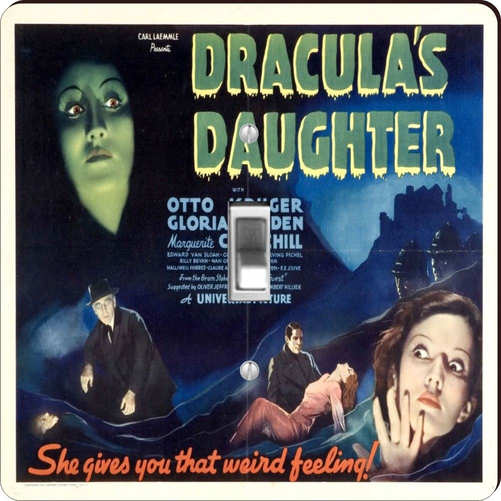 Rikki Knight RK-LSPS-3706 Vintage Movie Posters Art Dracula's Daughter 2 Design Light Switch Plate Cover
