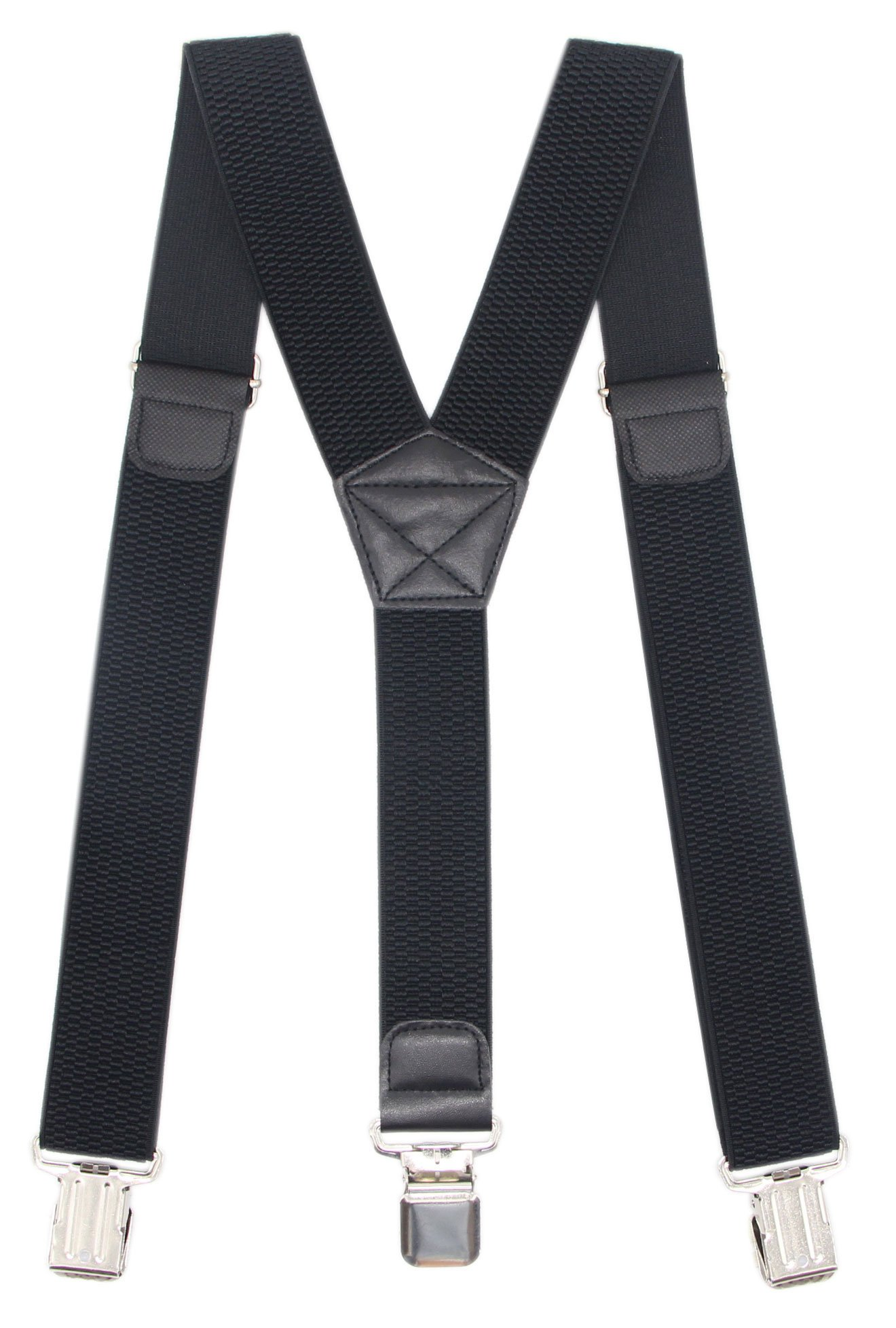 JAIFEI Men's Y Shape Wide Suspenders - Heavy Duty With Strong Clips (Black)