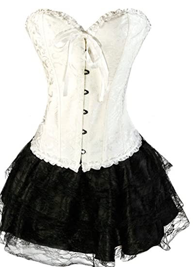 73206ed5c5f5e Martya Women s Gothic Boned Basque Overbust Corset Lace up Bustier with  Skirt Plus Size 6-16  Amazon.co.uk  Clothing