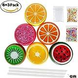 Simuer Fruit Slime Frucht Schleim Kits liefert Crystal Clay Plus Schaumbälle, Fishbowl Perlen, Strohhalme, Obst Gesicht Dekoration