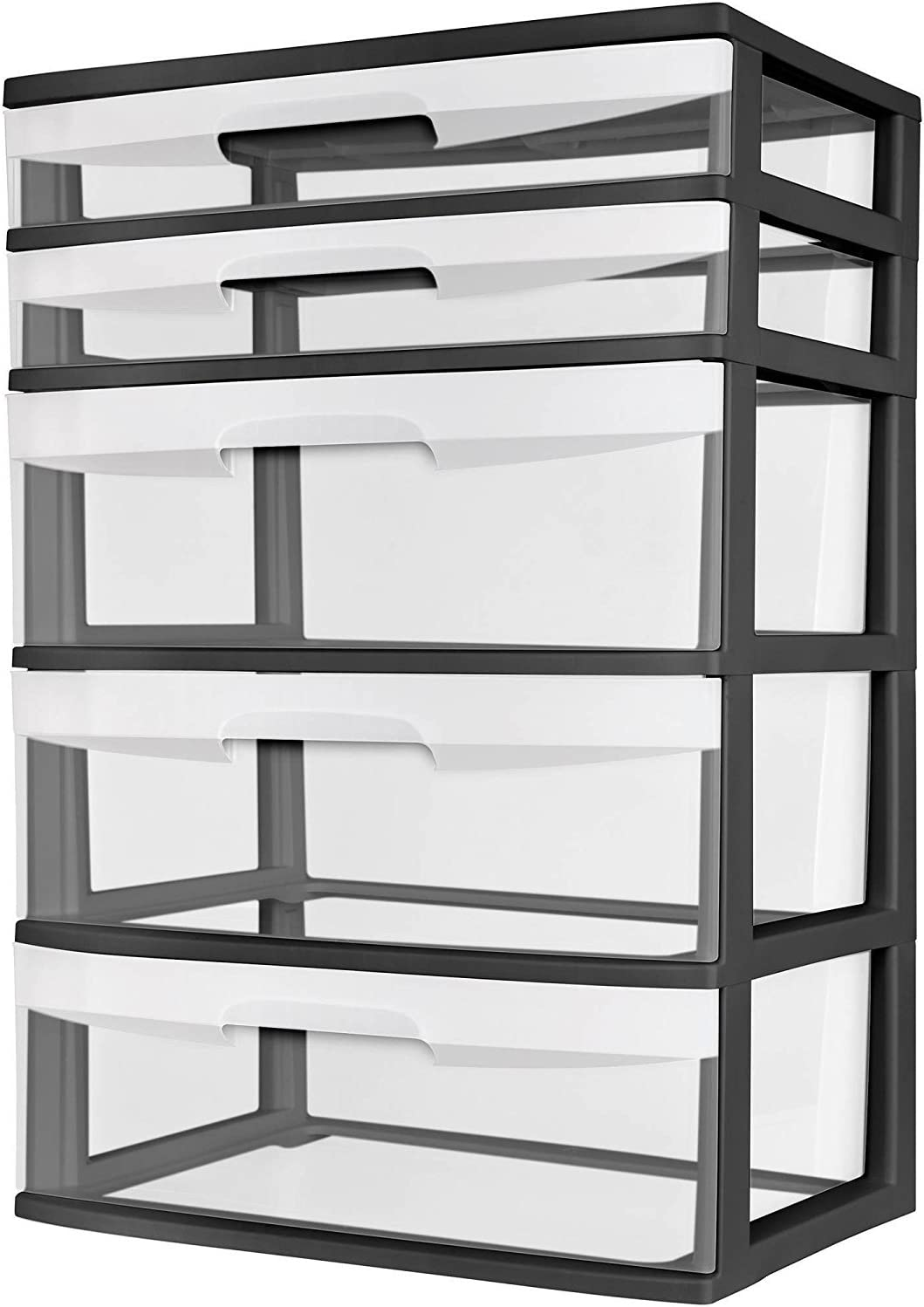 Sterilite 5 Drawer Wide Tower Black Frame Storage Organizer Cabinet Furniture Pack New Dorm Organization Garage Bedroom Room Clear Drawers Heavy-duty Plastic Storage Drawers