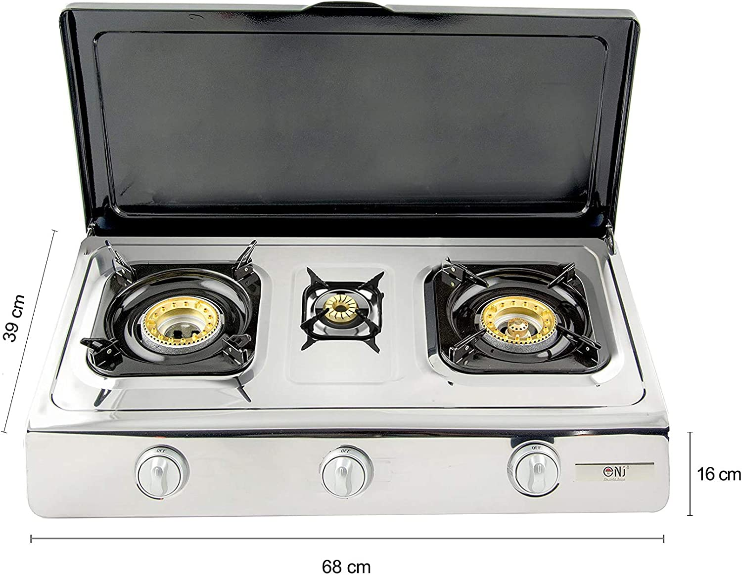 NJ ngb-300 C Gas Stove 3 BURNER 70 cm Stainless Steel Outdoor ...