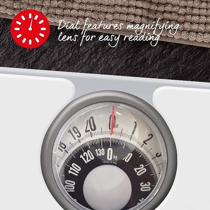 Salter Báscula de baño mecánica: pantalla con lente fácil de leer ...