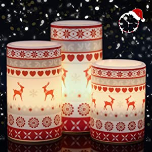 Wondise Christmas Flameless LED Candles Battery Operated with 6H Timer, Set of 3 Real Wax Flickering Electric Pillar Candles with Reindeer Decal for Christmas Home Decoration Gift(3 x 4, 5, 6 Inches)