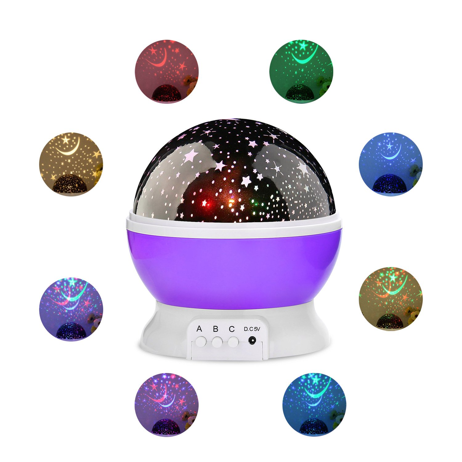 Hogoo Dream Starry Romantic Rotating Cosmos Moon Projector 360 Degree Rotation 4 LED Bulbs 9 Color Changing 3 Kinds of Switching Modes 39.38 inch USB Cable for Men Women Kids Baby Best Gifts,Purple