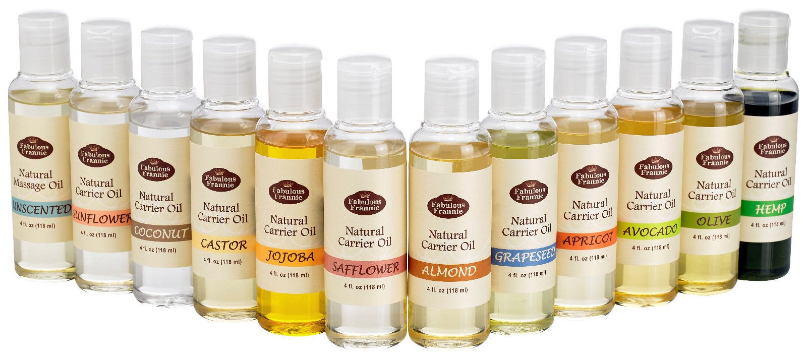 100% Pure Carrier Oil VARIETY 12/4oz Bottles Apricot Kernal, Avocado, Castor, Coconut, Grapeseed, Hemp Oil, Jojoba, Olive, Safflower, Sunflower, Sweet Almond, Unscented Massage Oil by Fabulous Frannie by Fabulous Frannie