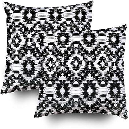 Cusion Covers Pack 2 Funda de Almohada de poliéster Patrón Ikat sin Costuras Fondo Abstracto en Blanco y Negro para diseño Textil 45 X 45 cm: Amazon.es: Hogar
