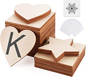 ilauke 4 inch Unfinished Wood Pieces - 50pcs Blank Square Wood Pieces with 26 Letters Stencils and 4 Snowflake templates, Perfect for Scrabble and Letters Wall Decor
