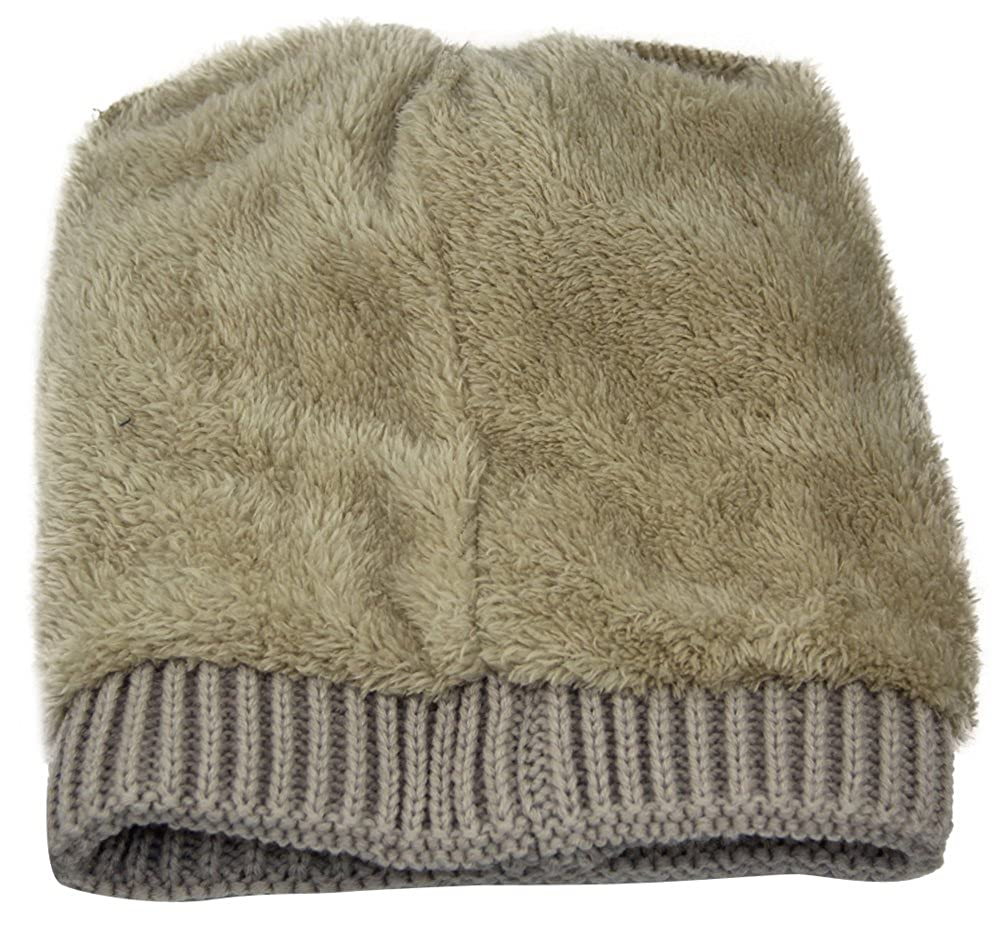 025361b150e MINAKOLIFE Women s Winter Beanie Warm Fleece Lining - Thick Slouchy Cable  Knit Skull Hat Ski Cap (Beige) at Amazon Women s Clothing store