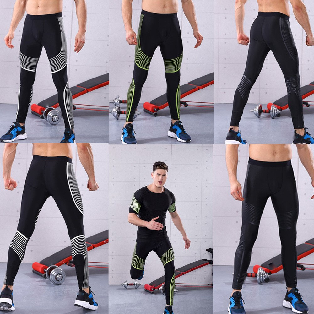 Mumustar Sports Gym Yoga MenS Legging Pants Compression Workout Tights Leggings Cool Dry For Cycling Running Hiking,Marathon,Basketball,Exercise and Fitness