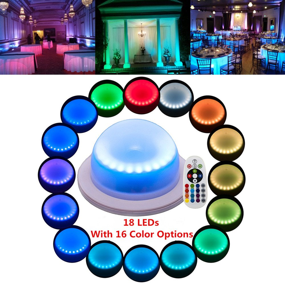Acmee (Pack of 1) Remote Control LED Under Table 16 Colors Change Wedding Decoration Light, for Parties, Events, Birthdays,RGB Super Bright lamp with 4000 mAh Rechargable Lithium Battery by Acmee