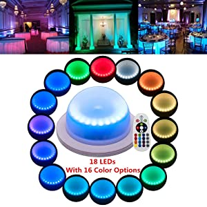 Remote Control LED Under Table 16 Colors Change Wedding Decoration Lights, for Parties, Events, Birthdays with 18 LEDs, Super Bright, 4000 mAh Rechargable Lithium Battery(1 PCS)
