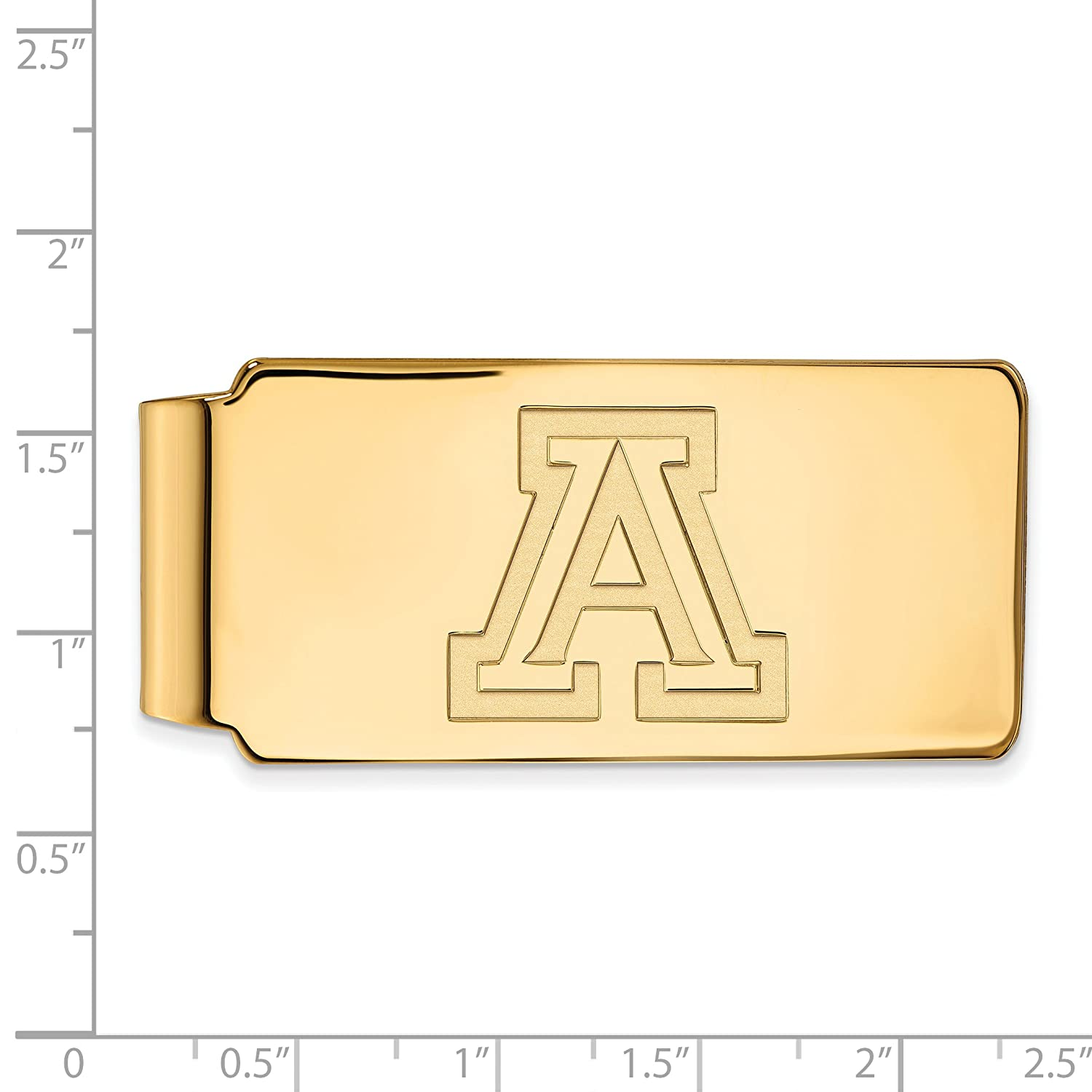 Sterling Silver w// 14K Yellow Gold-Plated LogoArt Official Licensed Collegiate University of Arizona Money Clip UA