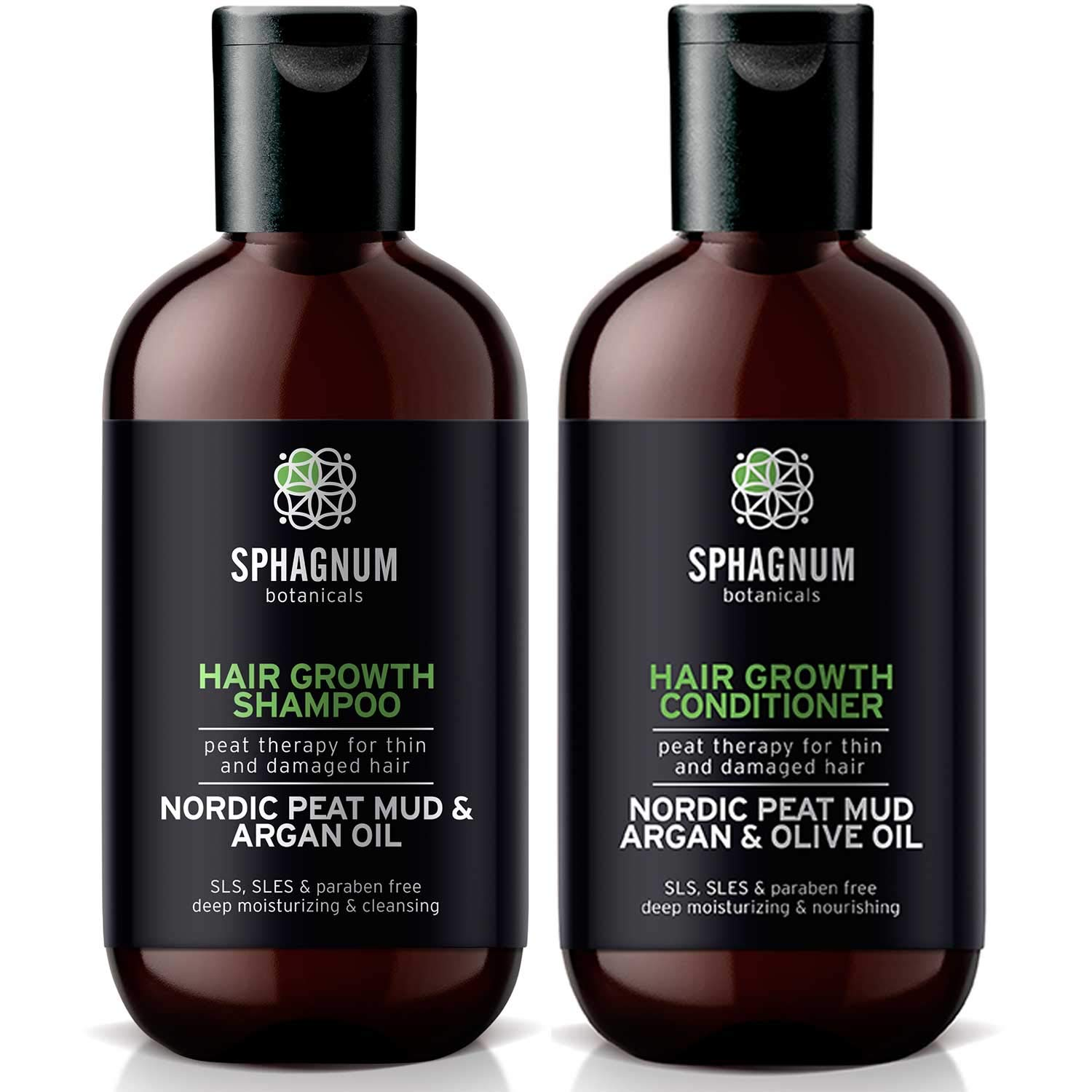 Hair Growth Shampoo and Conditioner - Natural Argan Oil Treatment with Effective Peat Mud for Thin and Damaged Hair. No SLS/Parabens. Powerful Organic DHT Blocker. Best for Hair Loss by Sphagnum Botanicals