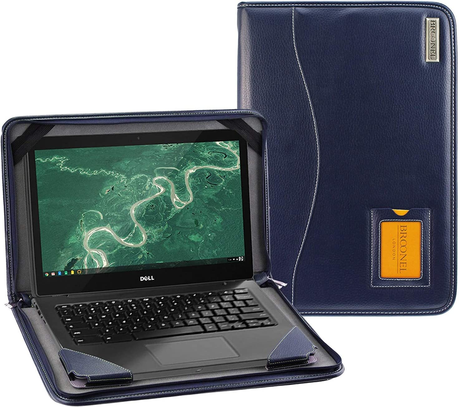 Broonel - Contour Series - Blue Heavy Duty Leather Protective Case Compatible with The Dell Inspiron 14 5000 14 Inch 2-in-1