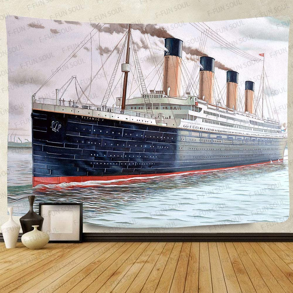 Titanic Ship Tapestry, Large 80x60inches Soft Cotton, Painting Pattern Art Wall Hanging Tapestries for Living Room Bedroom Decor Party Banner LLFS047