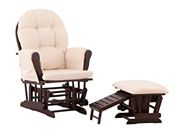 Admirable Status Roma Glider And Nursing Ottoman Espresso Beige Ncnpc Chair Design For Home Ncnpcorg