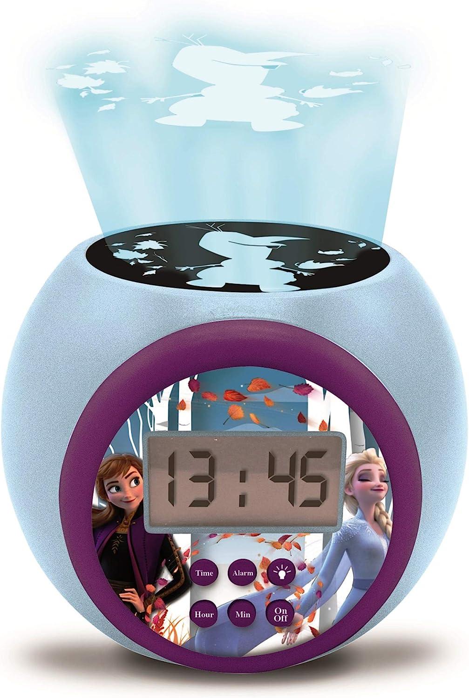 LEXIBOOK Reloj Despertador con proyector Disney Frozen 2 Anna Elsa con función de repetición y Alarma, luz Nocturna con Temporizador, Pantalla LCD, batería, Azul/púrpura, Color