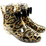 Womens Leopard Wellie Festival Rain Boots Black Bow Detail