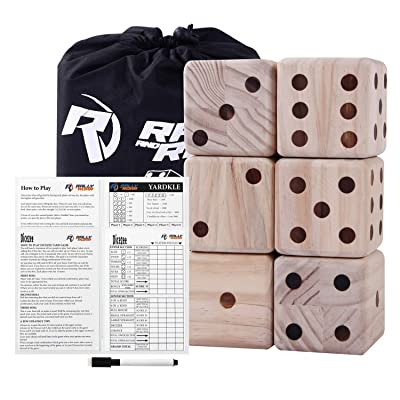 Rally and Roar Giant Dice Game Set for Adults, Families - Outdoor Wooden Dice Games Sets - Fun, Interactive Clean Family Games - Clean, Interactive Activities for Outside, Lawn, Bars, Backyards : Sports & Outdoors