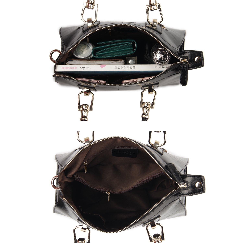 0dff517799 Amazon.com  Yafeige Womens Lady s Handbag Vintage Luxury Wax Genuine  Leather Tote Shoulder Bag Satchel Purse(Black)  Clothing