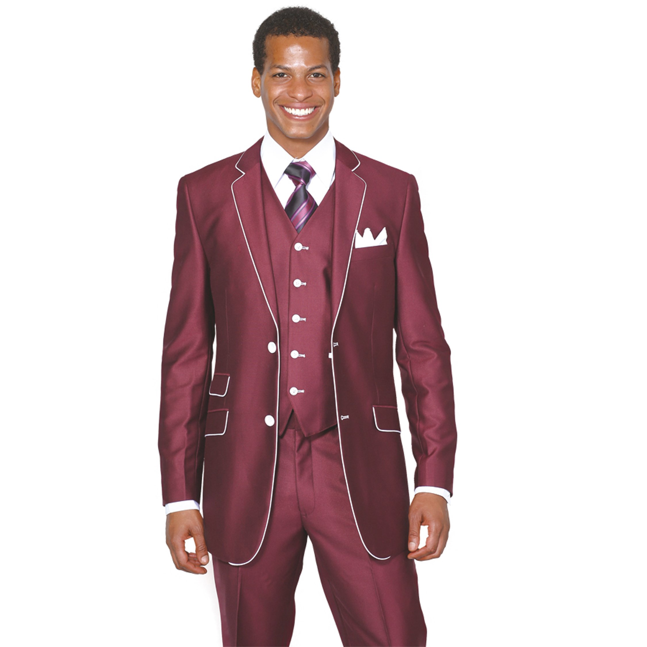 Milano Moda 2 Button Slim Fit Fashion Suit with White Hemming 5702V1 BGD-44R