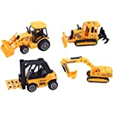 ToyZe Construction Vehicles Diecast Metal and Plastic, 5 Inch Pack of 4 (Ages 3 and up)