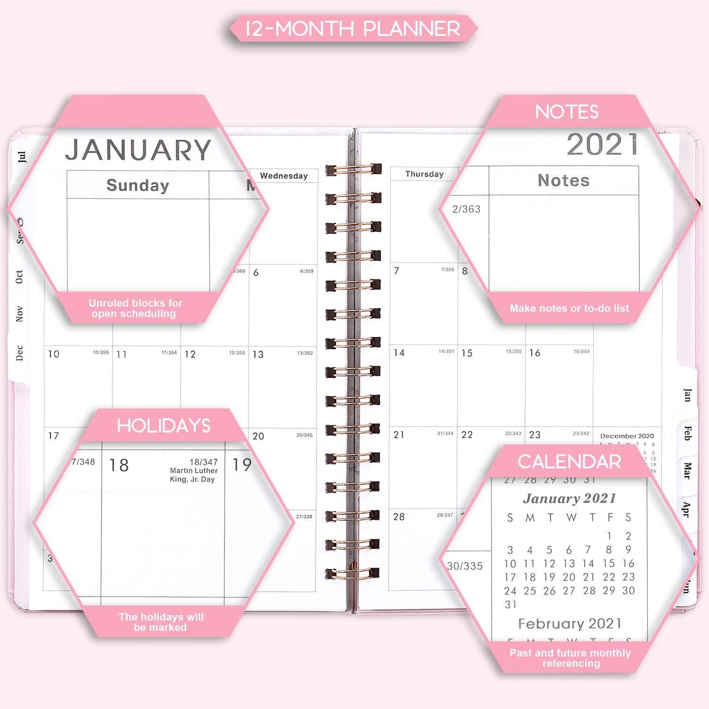 Va da Luglio 2020 a Giugno 202 Piano Settimanale Agenda Giornaliera 2020 2021 Copertina Rigida Doppio Filo Metallico Schede Mensili A5 21,5 x 15,5 cm
