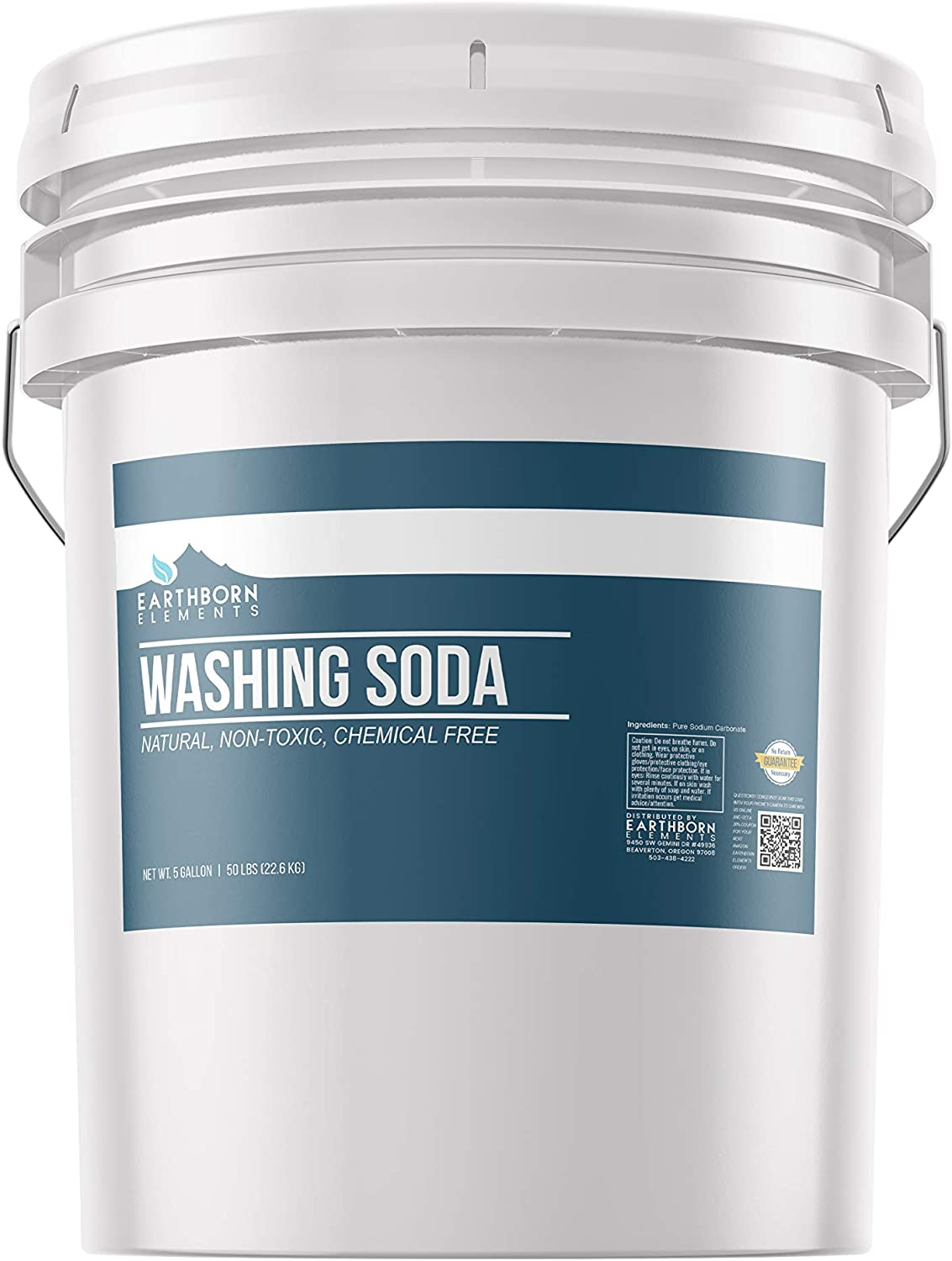 All-Natural Washing Soda (5 Gallon (50 lbs)) by Earthborn Elements, Soda Ash, Sodium Carbonate, Laundry Booster, Non-Toxic, Hypoallergenic