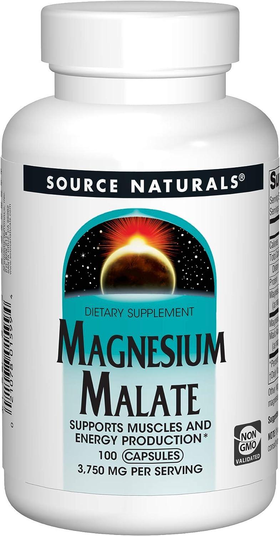 Source Naturals Magnesium Malate 625 mg Per Serving Essential Magnesium Malic Acid Supplement - 100 Capsules