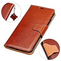 KM-WEN® Case for Nokia 3 (5 Inch) Book Style Genuine Leather Crazy Horse Pattern Magnetic Closure Wallet Case Pouch Flip with Stand Function and Credit ID Card Slot Holder Protective Case Cover for Nokia 3 (5 Inch) Coffee