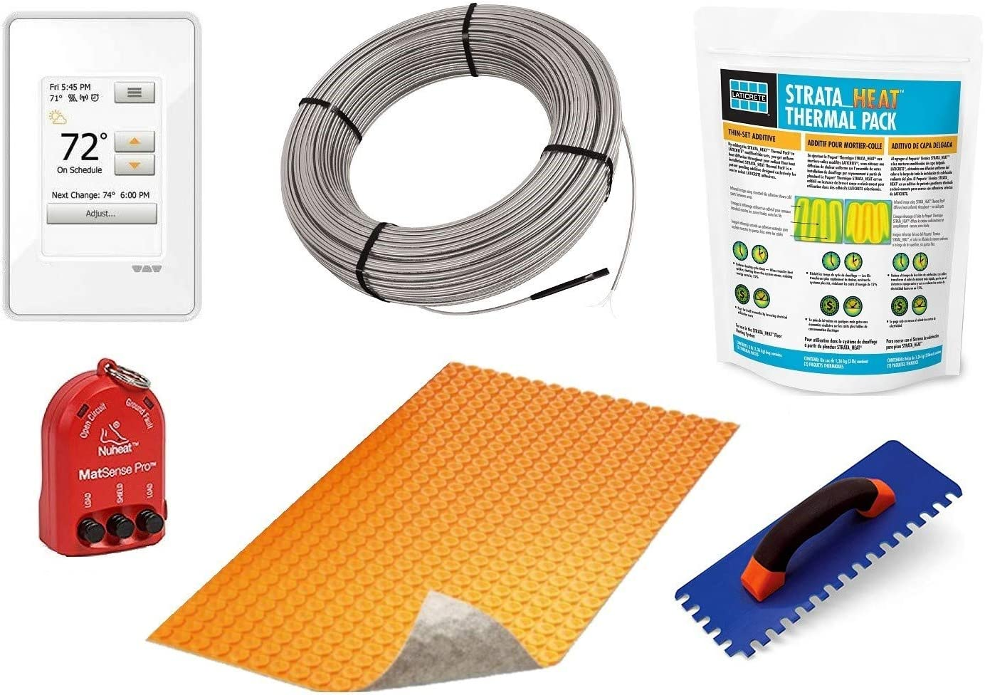 Schluter Ditra DUO Signature Floor Heating Kit -64 Square Feet- Includes Touchscreen Programmable Thermostat, DUO Membrane, Heat Cable DHEHK12064, Safe Installation Tools, Heat Enhancing Additive