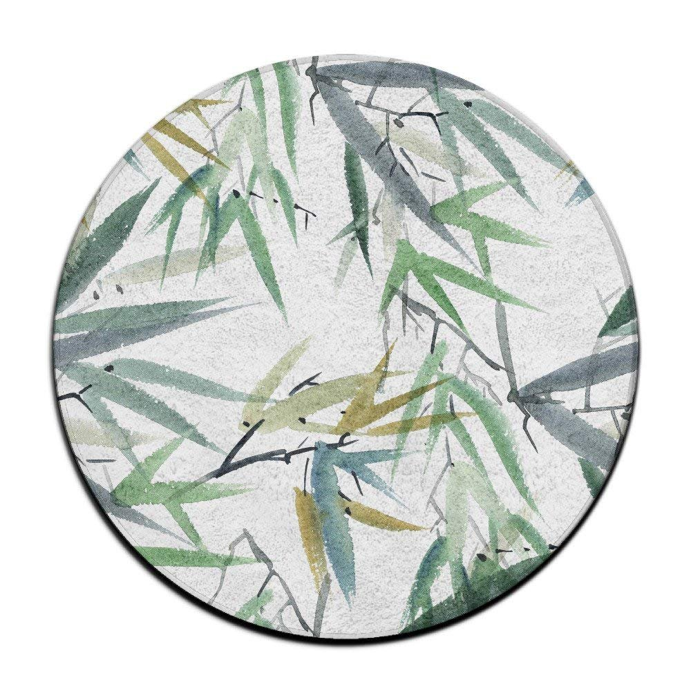 Watercolor Bamboo Round Carpet Area Floor Rug Entrance Entry Way Front Door Mat Ground Rugs for Decor Decorative Men Women Office by Debigkco