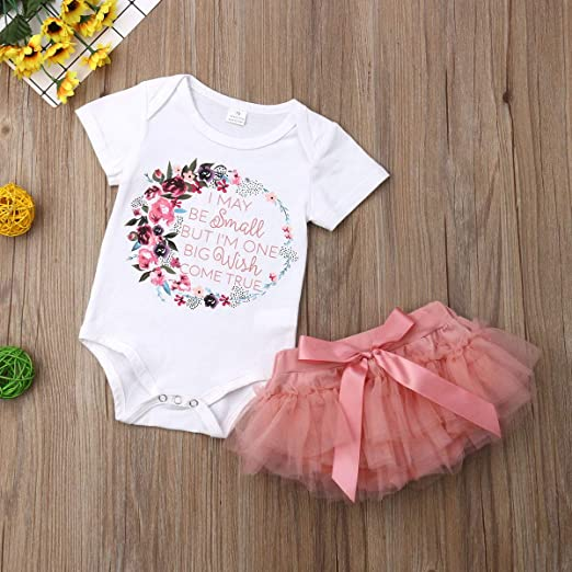 Toddler Baby Girls Outfits Short Sleeve Letter Romper Jumpsuit Ruffle Tutu Skirt Party Birthday 2Pcs Clothes Set