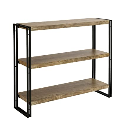 FIVEGIVEN 3 Tier Bookshelf Rustic Industrial Bookcase With Modern Open Wood Shelves Sonoma Oak