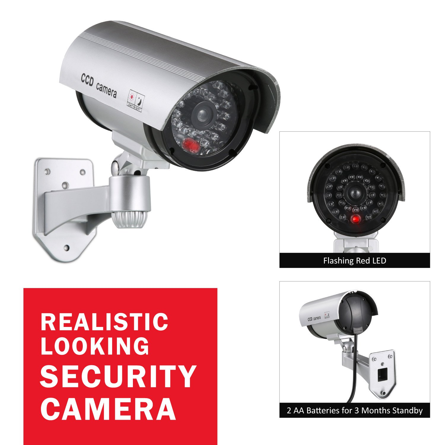ANNKE Surveillance Dummy Fake Security Camera with Flashing Red LED for Indoor and Outdoor Use by ANNKE