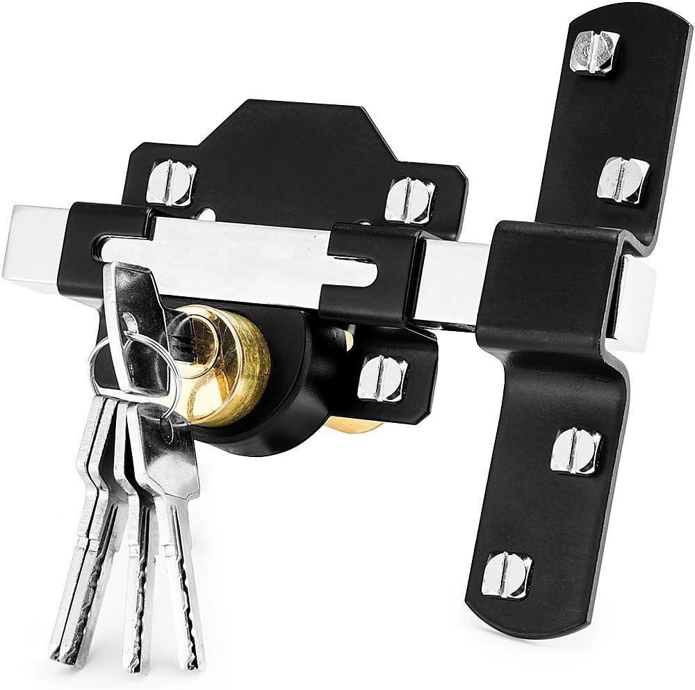 Concise Home Cerradura de puerta, de 50 mm, de doble apertura larga, con 5 llaves, ideal para el jardín, con cierre a ambos lados