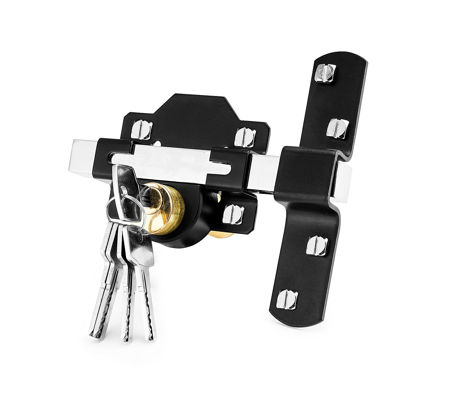 Concise Home 50mm Double Long Throw Gate Lock 5 Keys Garden Locking Both Sides CH-0005