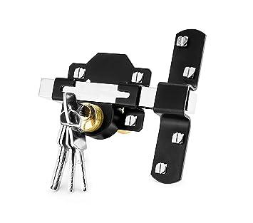 Serrure doubles verrouillages longue portée de 50 mm avec 5 clés, deux  côtés, pour porte et portail, verrouillage jardin - Concise Home.